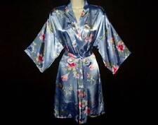 SILKY SMOOTH & GLOSSY SATIN PASTEL FLORAL KIMONO STYLE DRESSING ROBE M