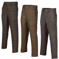MensTonal Brown Check Vintage Herringbone Tweed Trousers Peaky Blinders Style