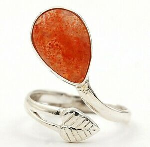 Leaf Natural Sun Stone 925 Solid Sterling Silver Ring Jewelry Sz 8, ED18-9