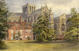 M. Conway, Winchester Cathedral, Hampshire – Original 1884 watercolour painting