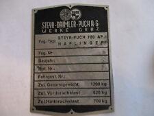 Placa IDENTIFICADORA STEYR PUCH Haflinger 700AP 700ap 1200kg s24