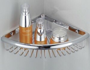 Chrome Brass Wall Mounted Bathroom Large Corner Shower Storage Basket Eba512
