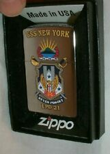 "USS New York NY ZIPPO 2016 Lighter MINT/Box Navy Ship LPD 21 ""Never Forget"" NEW"
