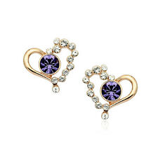 LOVELY 18K ROSE GOLD PLATED GENUINE PURPLE CZ & AUSTRIAN CRYSTAL HEART EARRINGS