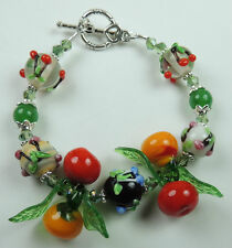 Multicolor Cherry Lampwork Bracelet with Fruit and Leaves and Green Agate