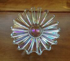 Iridescent Cut Glass Small Ribbed Platter or Low Bowl