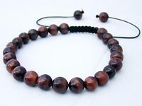 Men's Shamballa bracelet all 8mm RED TIGER EYE STONE beads