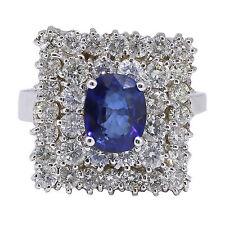 14k oro blanco corte ovalado Zafiro Azul&Diamante Anillo de cóctel 3.53 T. C. W
