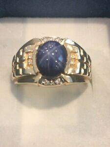 14kt Yellow Gold Diamond and Star Sapphire Men's Ring