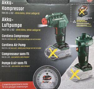 PARKSIDE Akku Kompressor PAK 20 Li B2 Luftpumpe PALP 20 LI B2 + Zubehör 7 bar