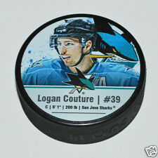 LOGAN COUTURE San Jose Sharks PLAYER STAR PUCK NEW #39 Souvenir In Glas Co.