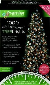 1000 LED Multi-Action TreeBrights Christmas Tree Lights Timer - WHITE/WARM WHITE