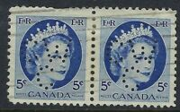 Perfin C46-CW/C: 5c blue QEII Wilding 341-1 PAIR, Canadian Westinghouse Company