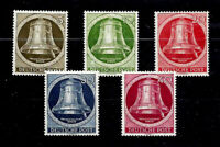 GERMANY BERLIN 1951 - FREEDOM BELLS, MNH, VERY FINE STAMPS, Mi. Nr. 82-86