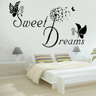 SWEET DREAMS Butterfly LOVE Quote Wall Stickers Bedroom Removable Decals DIY
