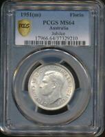 Australia, 1951 Florin, 2/-, George VI (Jubilee)(Silver) - PCGS MS64 (Ch-Unc)