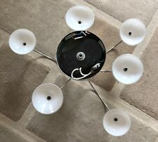 Ceiling Light - 6 Arm chandelier - Chrome - Opaque Glass Shades - G4 Bulbs
