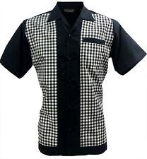 Rockabilly Fashions Mens Shirt Retro Vintage Bowling 1950 1960 Black White Check