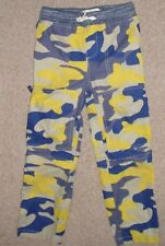 Boys Sz 6Y 6 Mini Boden Yellow Blue Camo Cargo Convertible Zip Leg Pants