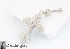 Clear Belly Ring CZ Gem Cross Dangle Body Piercing Navel Bar Jewellery UK Seller