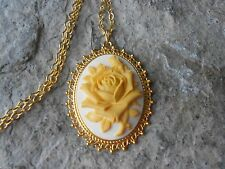 YELLOW ROSE ON TAN BEIGE CAMEO GOLD TONE PENDANT NECKLACE - UNIQUE