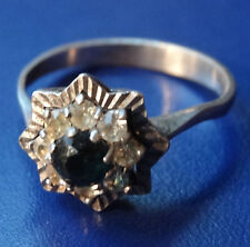 vintage SILVER blue & clear stone star design dress ring size 5 or J 1/2 -C751