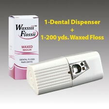 One Dental Floss Dispenser w/ One 200yds Waxed Regular Unflavored refill