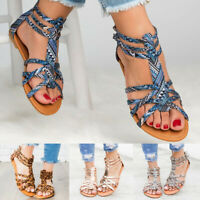 Women Ankle Strap Leopard Sandals Ladies Summer Casual Gladiator Flat Shoes Size