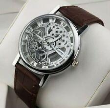 designer Men's Hollow Skeleton Manual Mechanical Stainless Steel Wrist Watch
