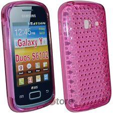 Cover Case for Samsung Galaxy Y Duos S6102 Silicone Gel Fuchsia Diamond