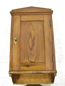 Antique rustic farmhouse pine wall mounted cupboard / cabinet