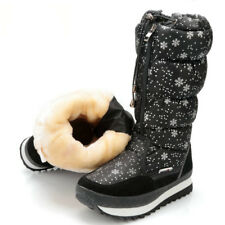 Womens Outdoor Quilted Mid-calf Snow Boots Winter Waterproof Plush Warm Sneakers