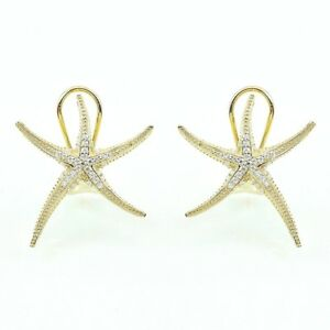 ZirconZ-Dainty Pave Star Fish Signity CZ Sterling Silver Omega Hoop Earrings