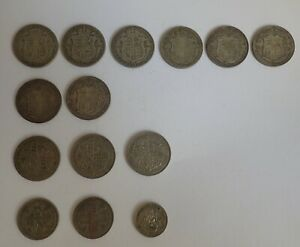 11 King George V Half crown silver coin, Two Florins and a George VI Shilling