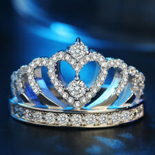 AAA Zircon Crown Silver Rings Princess Women Girl Fashion Jewelry Party Gifts