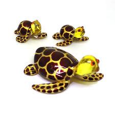 Sea Turtle Glass Figurines Aquarium MINIATURE Handmade Gift Collection Set of 3