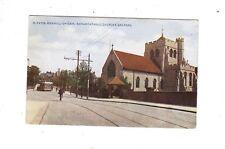 BEXHILL-ON-SEA Roman Catholic Church & Sea Road, cyclist and tram