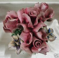 "Vintage Decorative Capodimonte Italian Pink Rose Bouquet- 9"" Tall"