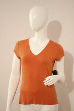 TAHARI Orange BALLY Knit MARMALADE V-Neck TOP Shirt MODAL Blend S Free Shipping