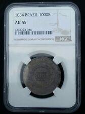 1854 Brazil 1000 Reis, NGC AU 55