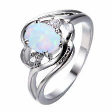 Women's Oval Cut White Fire Opal Ring White Gold Wedding Band Jewelry Size 6-10
