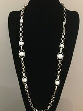 NWT WHITE HOUSE BLACK MARKET Oval Link and Glass Pearl Long Necklace Gold