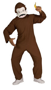 Curious George Monkey Mascot Adult Costume Safari Opening Theme Party Halloween
