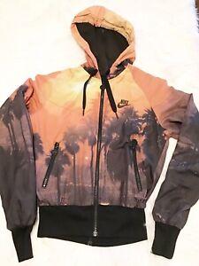 Nike Tropical Beach Sunset Orange Track Jacket Womens Size Small Zips Down Back