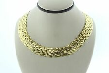 GV Italy Sterling Silver 925 Gold Vermeil Woven Necklace - Adjustable 17 - 19""
