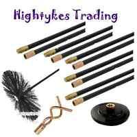 13 Pc Drain Rod Set Chimney Flue Sweep Sweeping Brush Pluger Worm Screw flexible