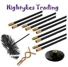 13 Pc Drain Rod Set Chimney Flue Sweep Sweeping Brush Pluger Worm Screw flexible