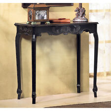 "BRAND NEW 31"" FURNITURE Scallop Detail Black Wood HALL SOFA ACCENT CONSOLE TABLE"