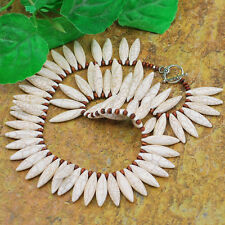 Ny6design White Magnesite Turquoise /Wood Necklace with Silver Tone Clasp 19""
