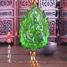 Green Tara Buddha Statue Chinese Colored Glaze Crystal Liuli Glass Car Pendant